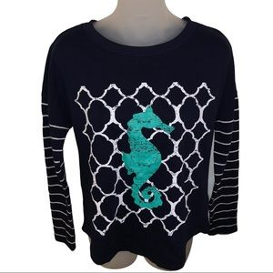 Crown & Ivy Navy & White Sweater w/ Teal Seahorse